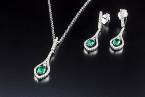 Emerald Pendant and Earrings